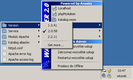 Wybór wersji serwera Apache