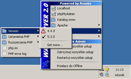 Przy wybranym wybranym serwerze Apache w wersji 2.2, nie ma możliwości wyboru PHP w wersji poniżej 5.2